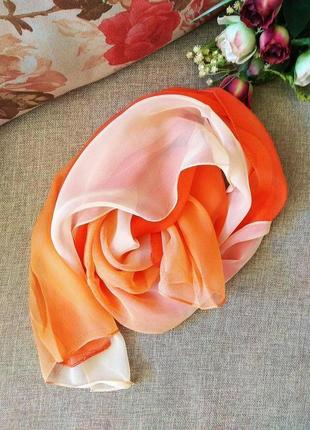 Тонкий легкий шарф из 100% шелкового шифона
