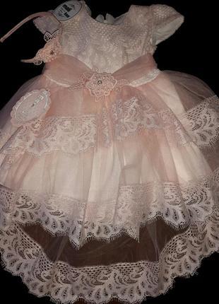 Нарядное пышное платье с обручем на девочку фирма mali kon