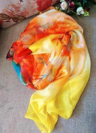 Шикарный тонкий широкий шарф  из 100% шелкового шифона