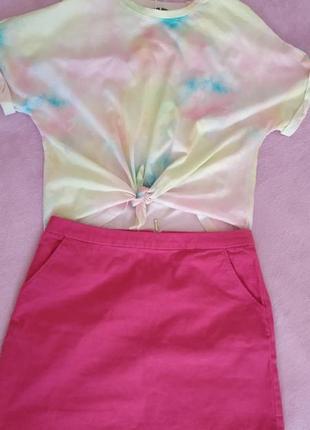 Юбка вельветовая мини розовая h&m