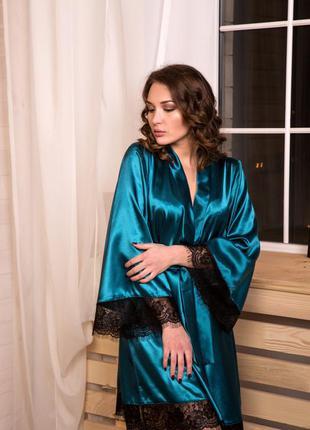 Роскошный изумрудный атласный халат кимоно с широким рукавом, размеры xs/s, m/l, xl/xxl