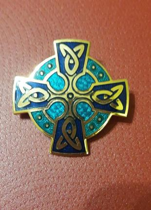 """Винтажная брошь """"кельтские узоры"""" cloisonne, гильош, маркирована"""