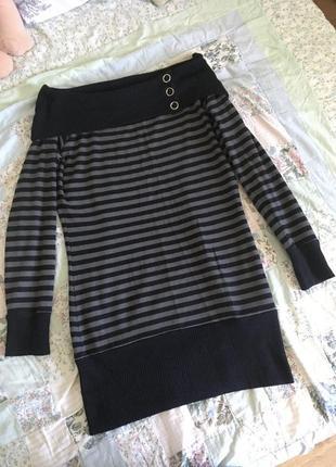 Длинная кофта-платье с открытыми ключицами  от casual