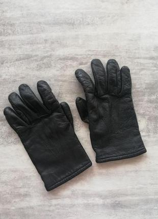 Кожаные мужские черные перчатки