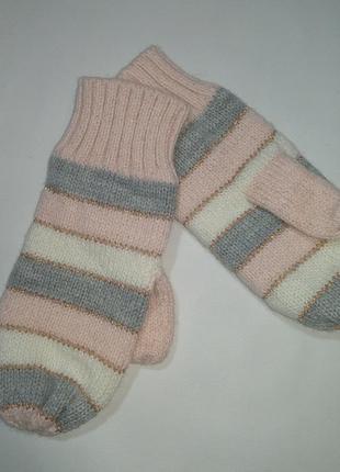 Варежки для девочки 116 см (5-6 years) розовые с серым  h&m 58883
