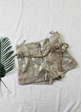 Серебристые льняные шорты на высокой посадке/ лляні шорти