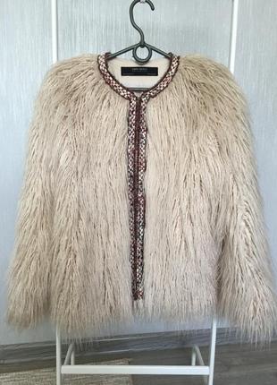 Куртка деми из искуственного меха (лама) zara xs