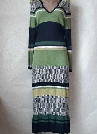 Фирменное next шикарное вязанное платье в пол на 90 %вискоза с пояском, размер 2хл