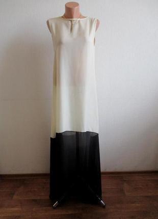 Пляжное бежево-черное  длинное макси платье в пол