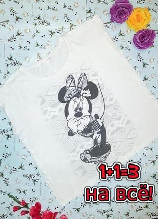 🌿1+1=3 стильная белая футболка disney с микки-маусом, размер 56 - 58