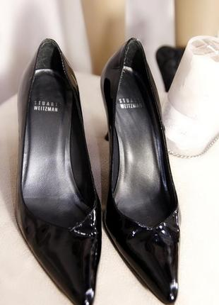 Stuart weitzman натуральные кожаные лак лодочки туфли на каблуке классические черные