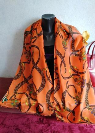 Люкс-бренд, натуральный шелк,большой шарф ralph lauren, 174*44, оригинал
