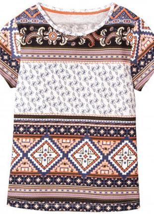 Мягусенькая футболка с орнаментом для девочки рост 110 116 lupilu