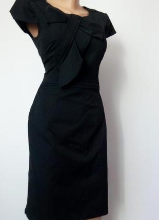 Платье миди 48 размер офисное бюстье осеннее нарядное с черное с бантом