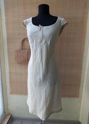 Льняное платье миди