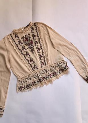 Шикарная блуза вышиванка с вышивкой zara p.s