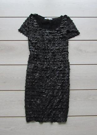 Платье слоями воланами до колен с напылением