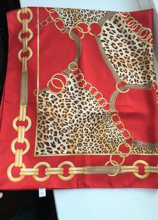 Стильный платок, шарф итальянский, принт леопард, цепи в стиле vesace gucci hermes
