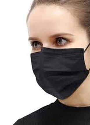 Одноразовая трехслойная маска заказ 10шт на резинках, черная (1шт 33гр)