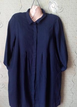 Cos платье рубашка с карманами вискоза+шерсть.