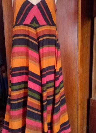 Monsoon вискозное платье сарафан в полоску.