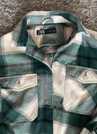 Zara рубашка в клетку . трендовая рубашка.