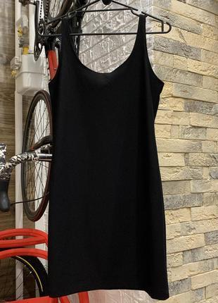 Платье майка чёрное  мини в рубчик фактурное приталенное