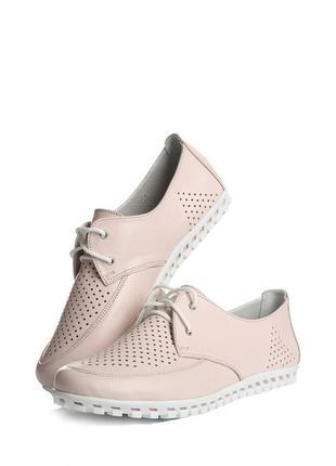 Мокасины кожаные розовые туфли на шнурках натуральная кожа перфорация