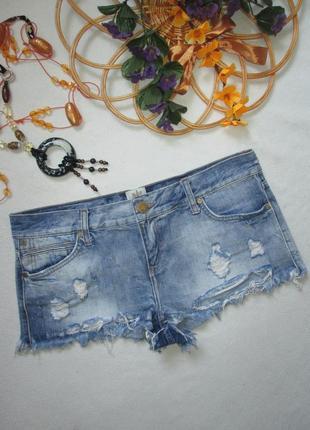 Суперовые джинсовые короткие шорты с рваностями и необработанным краем river island
