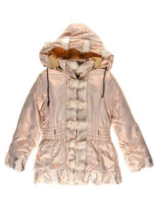 Новая детская курточка, пальто на 10-14 лет! золотистое напыление! эко-мех, лён и хлопок,