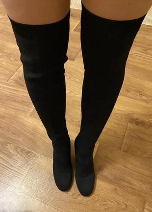 Стильные ботфорты, сапожки, сапоги текстильные от бренда zara