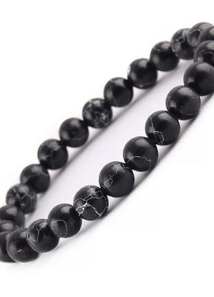Черный браслет из натурального камня