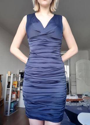 Атласное синее платье, турция.
