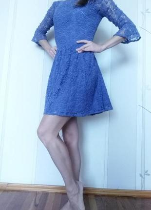 Кружевное платье, летнее платье, рукав три четверти, короткое платье