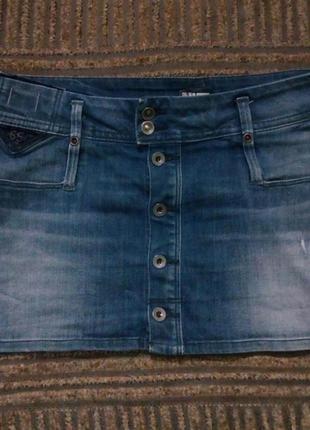 Модная джинсовая юбка мини на пуговицах☘️