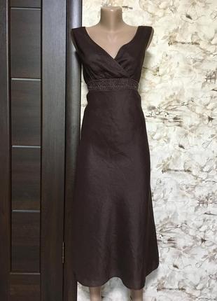 Изумительное льняное платье с бисером,шоколад,marco pecci