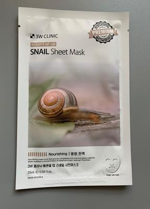 Тканевая маска с улиточным муцином 3w clinic essential up snail sheet mask