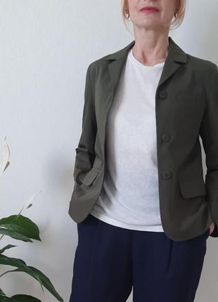 Хлопковый пиджак в цвете хаки massimo dutti,, & other stories, cos,размер 32
