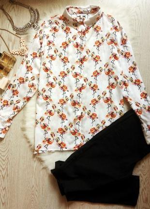 Белая блуза рубашка с цветным принтом батал большой размер длинный рукав с воротником