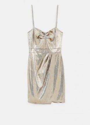 Золотистое платье zara