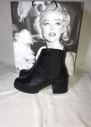 Итальянские кожаные ботиночки на каблуке