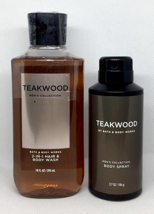 Набор для мужчин: гель для душа 2-в-1 и дезодорант для тела bath & body works teakwood