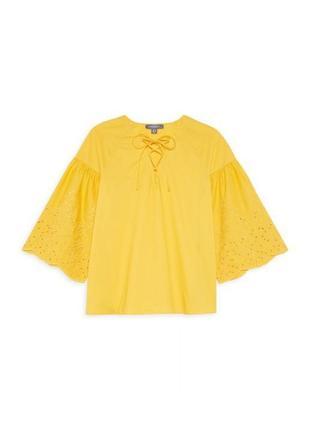 Желтая блуза сорочка с вышитыми рукавами воланами хлопковая primark