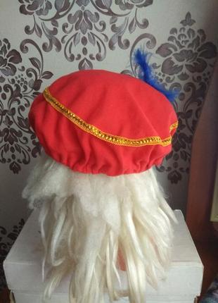 Карнавальний берет червоний принца.2 фото
