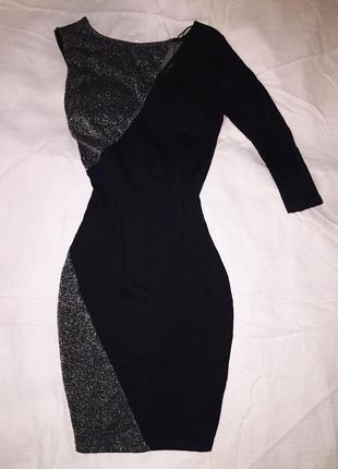Очень красивое мини платье с люрексом tally weijl  на одно плечо