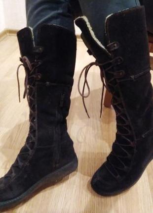 Тёплые зимние сапоги timberland ботинки трансформеры замш овчина на шнуровке