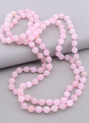 Бусы розовый кварц 115 см. 0890610