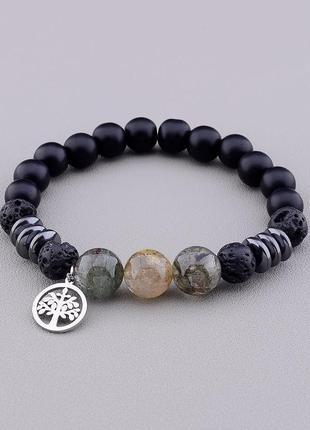 Браслет 'sunstones' фантомный кварц,лава,шунгит 17 см. 0854860
