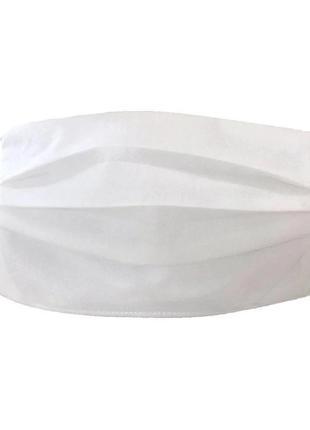 Одноразовые защитные трёхслойные маски для лица белые
