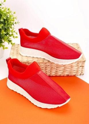 Крассные легкие кроссовки сетка текстильные для бега спорта кеды мокасины